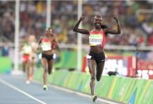 Olympiasiegerin Vivian Cheruiyot in Frankfurt am Start